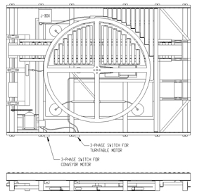 turntable ring and cross line drawing